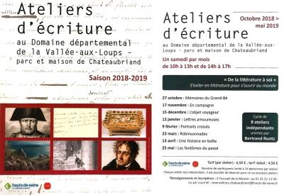 Programme ateliers d'écriture Maison de Chateaubriand