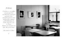 """13 Le lecteur - Mon ami écrivain Christian Estèbe photographié """"en douce"""" et son commentaire - Médiathèque Velizy-Villacoublay - © B. Runtz"""
