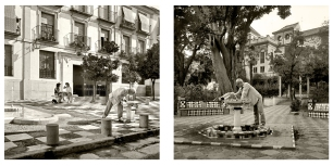 © B. Runtz / Dos mujeres, un hombre y un gato cerca del agua - La fuente bajo el árbol